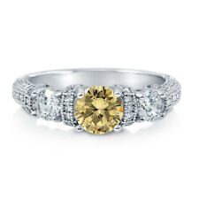 Silver 1.65 CT Canary Yellow CZ 3-Stone Art Deco Promise Engagement Ring