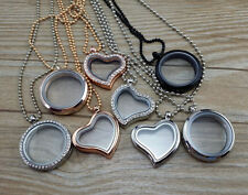 New 30mm Living Memory Floating Charms Glass Locket Pendant Necklaces Free Chain