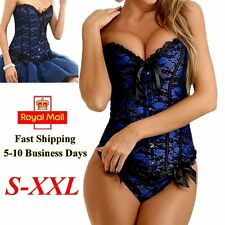 Sexy Lace Up Blue Overbust Corset Top Waist Trainer Lingerie Bustier Body Shaper