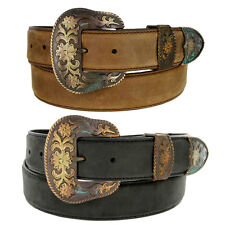 Western Edge Stitch Genuine Leather Belt with Antique Patina Buckle Set, 1-1/2""
