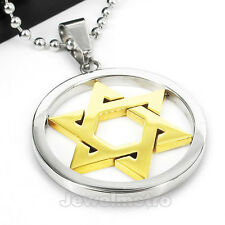 Gold Silver Stainless Steel Star Of David Pendant Charm Necklace PJ0976