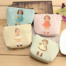 Women Girl Cute Coin Key Holder Card Case Canvas Purse Mini Bag Lady Zip Wallet