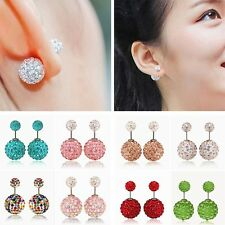 Women Lady Elegant Double Sided Crystal Rhinestone Ball Earrings Ear Studs Gigt