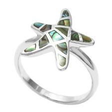 925 Sterling Silver Lovely Abalone Starfish Ring Size 5-9