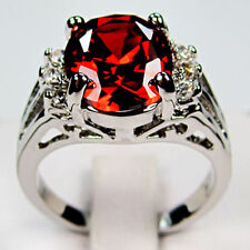 Jewelry Ruby Red CZ Gems Women's White Gold Filled Ring Size 6/7/8/9 Engagement