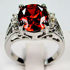 Size 6-10 Noble Red Ruby CZ Wedding Ring Women's 10KT White Gold Filled Jewelry