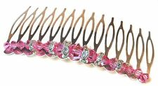ROSE PINK Crystal Hair Comb Handcrafted Swarovski Elements
