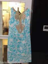 $198 Lilly Pulitzer JANICE SHIFT DRESS in Blue Printed gold soutache trim 0-8