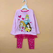 2PCS Set Girls Kids Cinderella Snow White Three Princess Tops+Pants 2-7Y Outfits