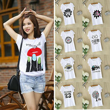 Women's Fashion Loose Cotton Short Sleeve Print T-Shirt Tee Blouse Tops Shirt