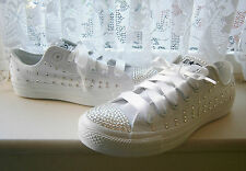 Womens/Girls ALL WHITE Bling CONVERSE  (Mono)-CUSTOMISED with SWAROVSKI CRYSTALS