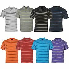 Dunlop Mens Stripe Golf Polo Shirt Short Sleeves Tee Top T Shirt Lightweight
