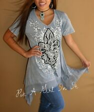 VOCAL PLUS SIZE CRYSTAL GRAY FLEUR DE LIS TIE DYE SHARK TUNIC TOP SHIRT 1X 2X 3X
