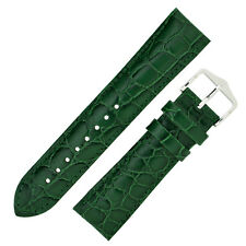 Hirsch CROCOGRAIN Crocodile Embossed Leather Watch Strap and Buckle in GREEN