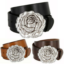 "Womens Antique Silver Rose Buckle Casual Leather Jean Belt, 1-1/2"" Wide"