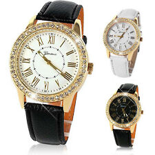 Bling Gold Crystal Women's Luxury Leather Strap Quartz Wrist Watch New Elegant