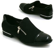 LADIES FLAT SLIP ON WOMENS BROGUE WORK LOAFERS SCHOOL PUMPS SHOES SIZE 3-8