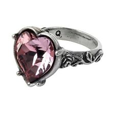 Official Bower Troth Pewter Swarovski Antique Pink Heart Ring - Alchemy Gothic