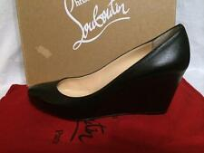 Christian Louboutin MELISA 70 Nappa Leather Wedge Heel Pumps Shoes Black 41.5