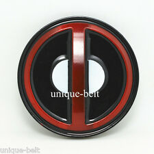 New Leather Mens Superhero Deadpool Metal Belt Buckle Red Black Great Gift