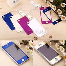 Colored Mirror Tempered Glass Film Screen Protector For iPhone 4 4s Front + Back