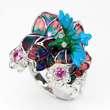 RARE! AWESOME NEW DESIGNED PINK,W CZ 925 SILVER ENAMEL BIRD,FLOWER RING HANDMADE