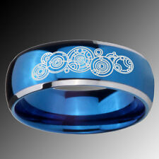 Tungsten Doctor Who Design Blue Glossy Dome 2 Tone Ring Sz 4-14