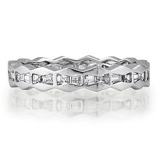BERRICLE Sterling Silver Channel Set Baguette CZ Eternity Band Ring 0.8 Carat