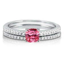 BERRICLE Sterling Silver Cushion Pink CZ Solitaire Engagement Wedding Ring Set