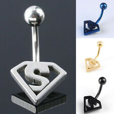 Hot Fashion Body Piercing Jewelry Superman Logo Navel Belly Button Bar Rings 1PC