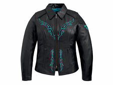 Harley Davidson Women's Sahara Black Leather Jacket Turquoise Blue 97083-12VW L