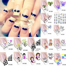 Girls Cartoon Animal Flower Decal Water Transfer Manicure Nail Art Sticker DIY