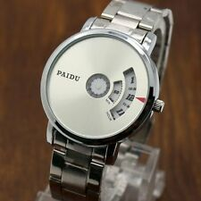 PAIDU Fashion Quartz Wrist Watch Silver Band Turntable Dial Hours Men's Gift