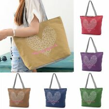 Love Heart Women Canvas Lady Shoulder Bag Handbag Tote Shopping Beach Satchel