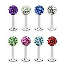 Surgical Steel Ferido Crystal Labret Monroe Lip Stud Bar Piercing