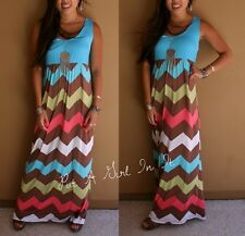 PLUS SIZE AQUA BLUE CHEVRON ZIG ZAG BOHEMIAN LONG MAXI TANK BOHO DRESS 1X 2X 3X
