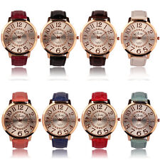 Womens Fashion Numerals Golden Dial Leather Analog Quartz wrist Watch Casual new