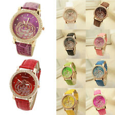 Women Camellia Dial watch Leather Strap Rhinestone Round Quartz Wrist Watch 2015
