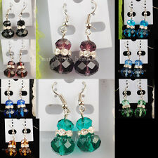 Mix Color Crystal Faceted Rondelle Beads Earrings Pair WB254