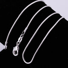"""2 Types 925Sterling Silver Solid Silver Snake Chain Necklace 1MM-2MM 16""""-24"""""""