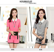 Women Summer Fashion Slim Short Sleeve Doll Collar T Shirt Tops + Shorts Suit