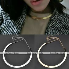 Fashion Women's Punk Mirrored Curved Collar Necklace Choker Metal Polished Gift