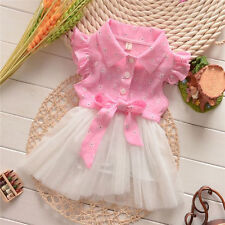Baby Girls Toddler Dresses Wedding Flower Bow Tulle Cotton 0-3Y Tunic Suit Tutu