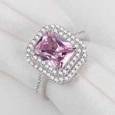 3.5CT Emerald Pink Sapphire White Topaz Solid 925 Sterling Silver Gemstone Ring