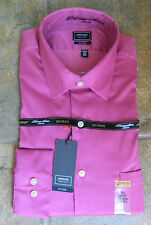 Men's ARROW Pink Magenta Heritage Sateen FITTED STRETCH No Iron Dress Shirt NWT