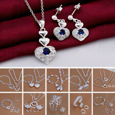 Fashion 925 Sterling Silver Plated Jewelry Necklace Bracelet Earring Set