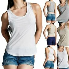 Raw Edge Sleeveless Solid Scoop Neck High Low Hem Tank Top Casual S M L