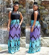"PLUS SIZE BLACK BLUE PURPLE ""AFRICAN VIOLET"" TALL BOHO TANK MAXI DRESS 1X 2X 3X"