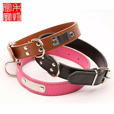 Personalized Leather Collars Dog Pet Cat Puppy Collar Neck Buckle Adjustable 66