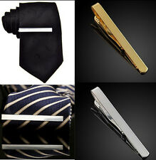 1 X  Silver Gold Mens Plain Solid Skinny Commercial Tie Clasp Bars Clip  Pins EY